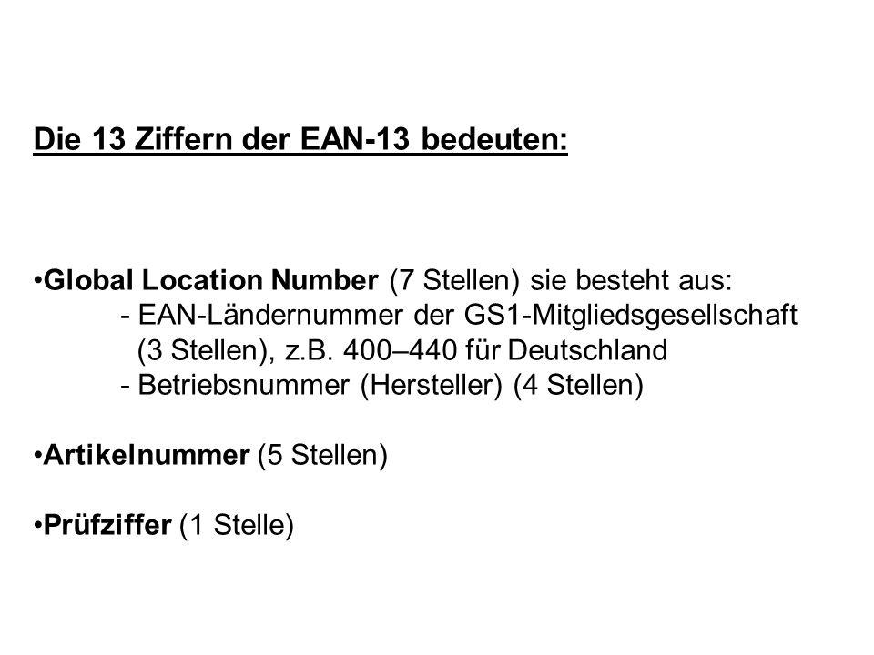 Die 13 Ziffern der EAN-13 bedeuten: