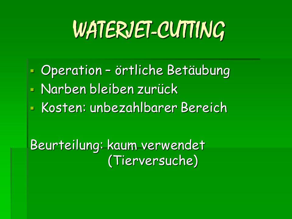 WATERJET-CUTTING Operation – örtliche Betäubung Narben bleiben zurück