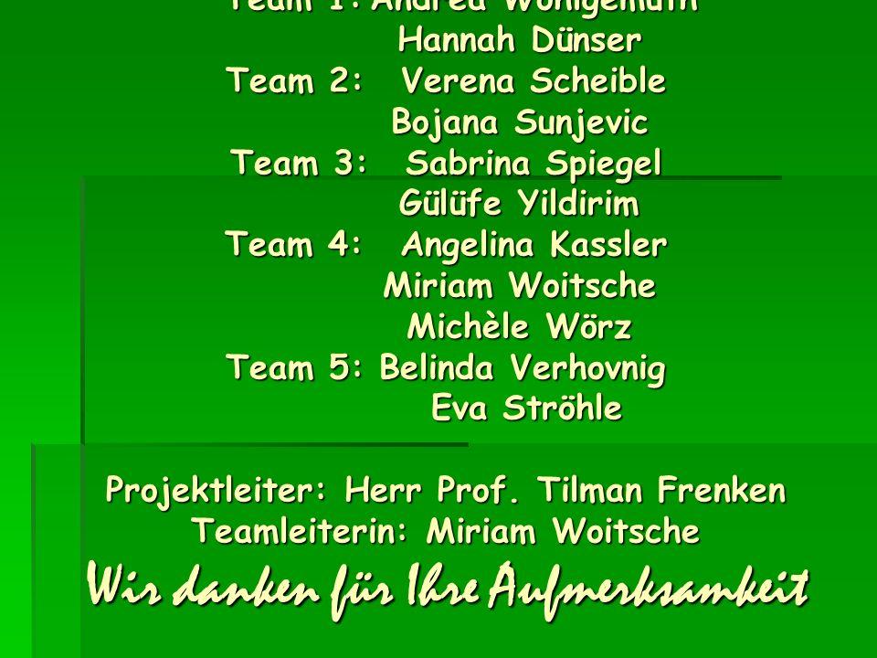Team 1:. Andrea Wohlgemuth. Hannah Dünser Team 2:. Verena Scheible