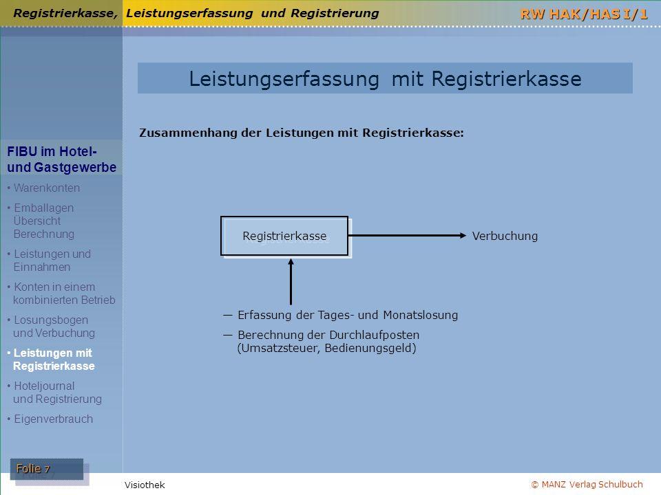Leistungserfassung mit Registrierkasse