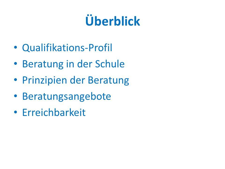 Überblick Qualifikations-Profil Beratung in der Schule