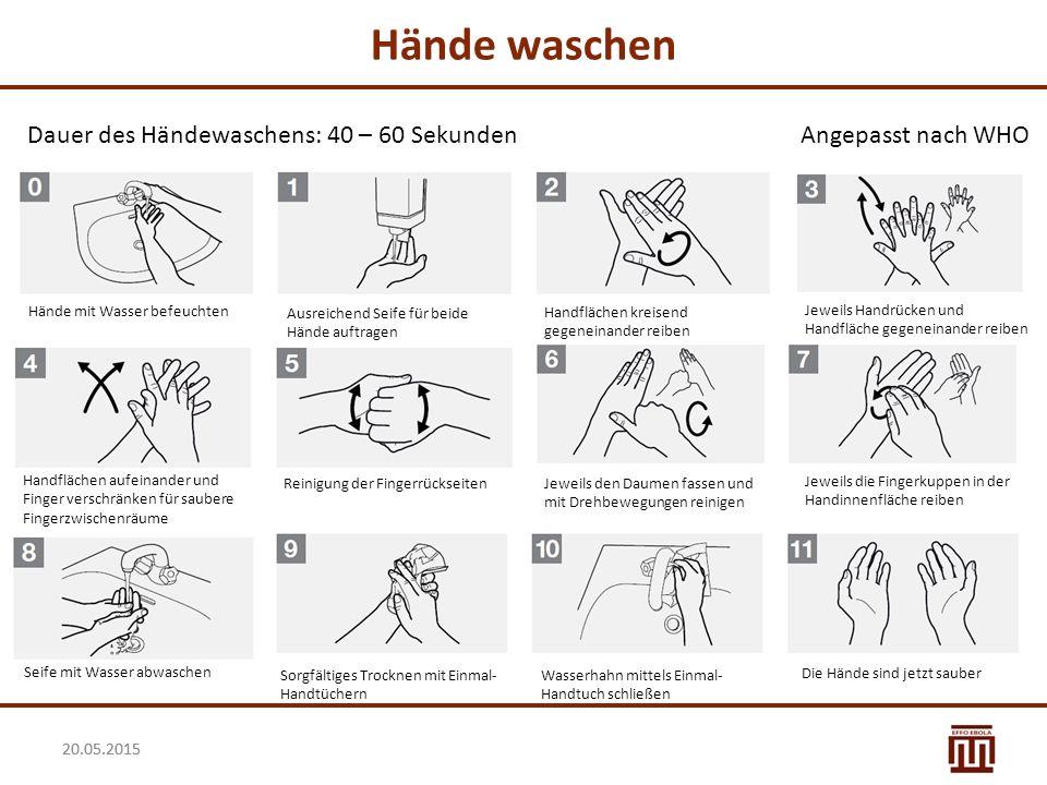 Hände waschen Dauer des Händewaschens: 40 – 60 Sekunden
