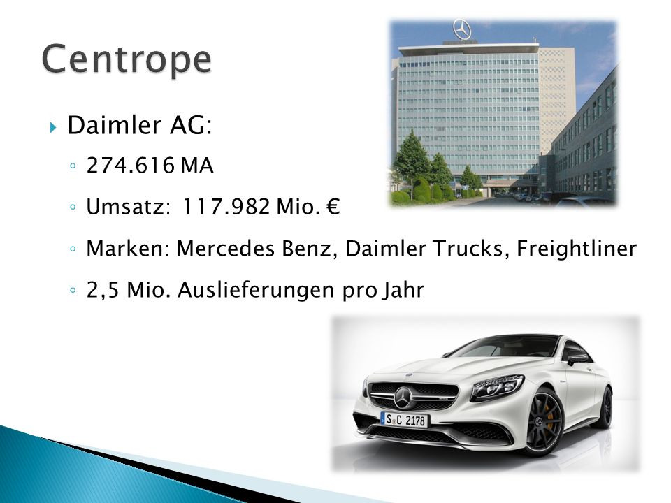 Centrope Daimler AG: 274.616 MA Umsatz: 117.982 Mio. €