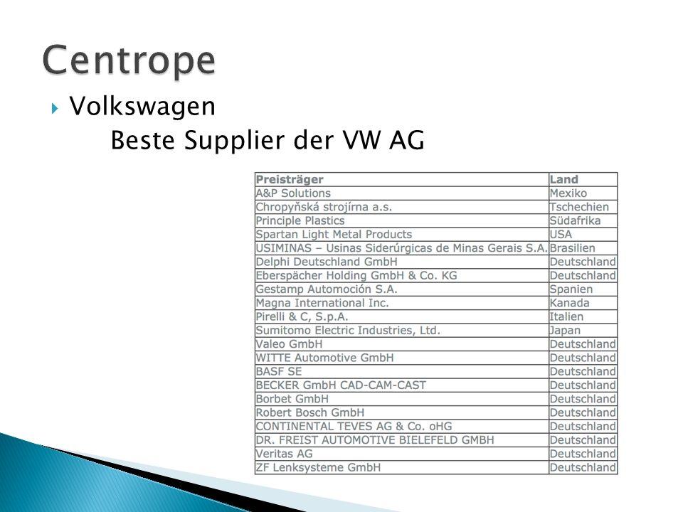 Centrope Volkswagen Beste Supplier der VW AG