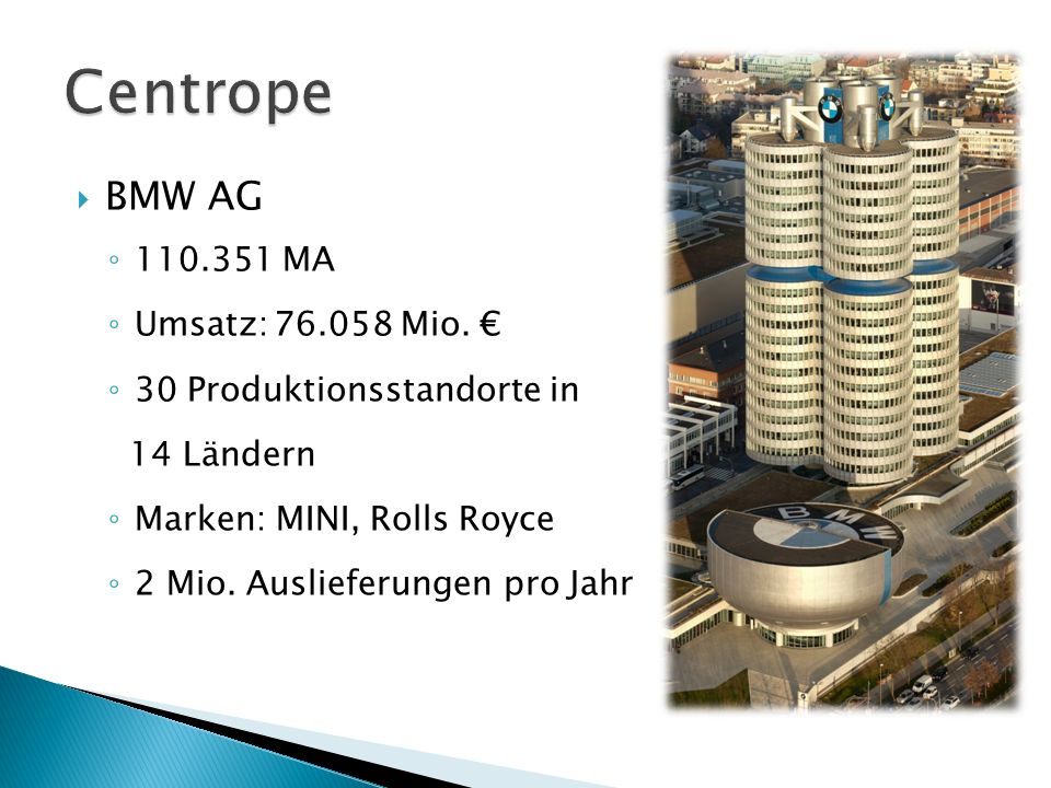 Centrope BMW AG 110.351 MA Umsatz: 76.058 Mio. €