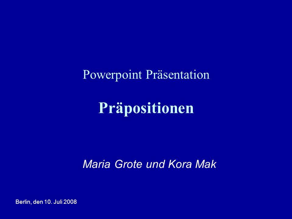 Powerpoint Präsentation Präpositionen