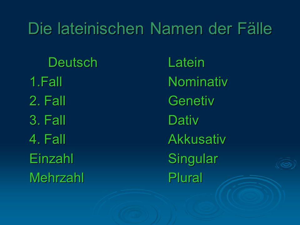 Die lateinischen Namen der Fälle