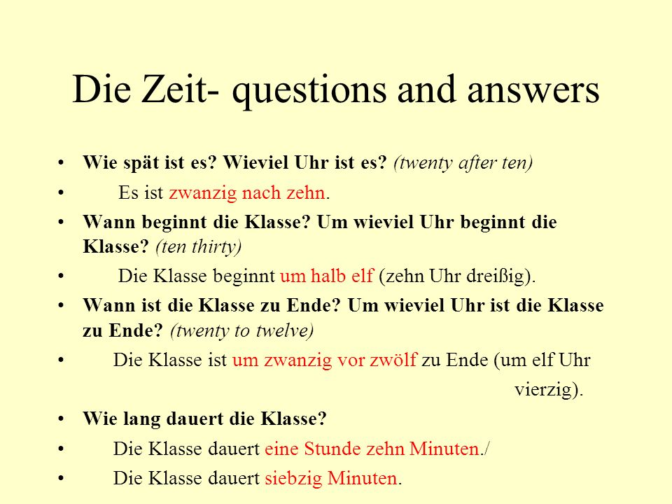 Die Zeit- questions and answers