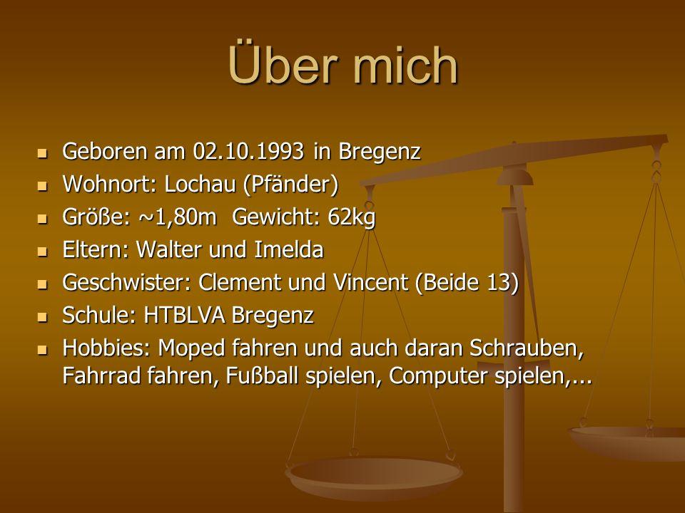 Über mich Geboren am 02.10.1993 in Bregenz Wohnort: Lochau (Pfänder)
