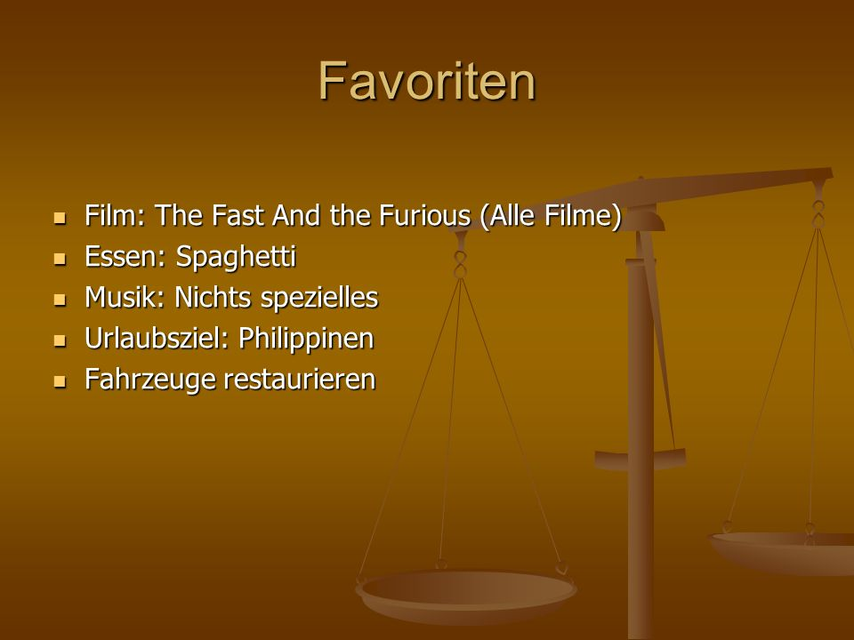 Favoriten Film: The Fast And the Furious (Alle Filme) Essen: Spaghetti