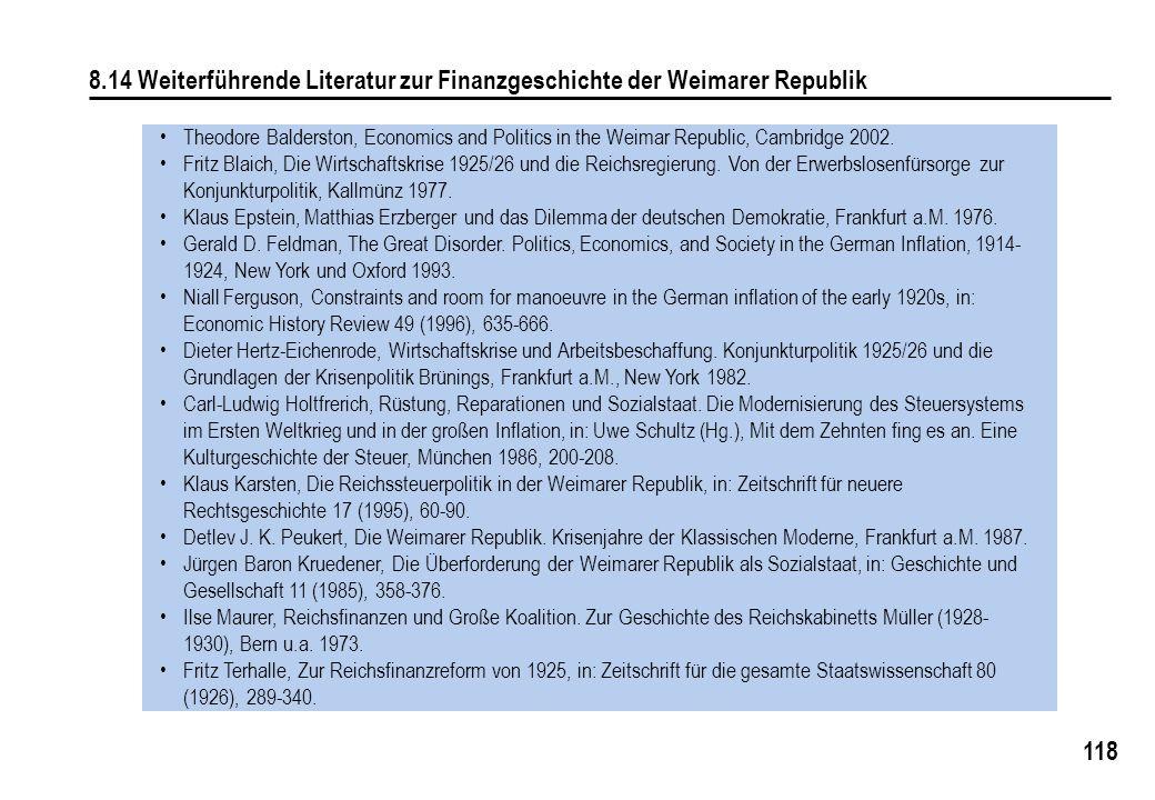 8.14 Weiterführende Literatur zur Finanzgeschichte der Weimarer Republik