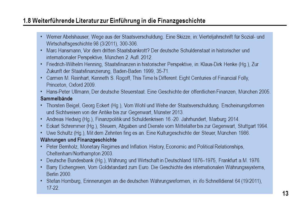 1.8 Weiterführende Literatur zur Einführung in die Finanzgeschichte