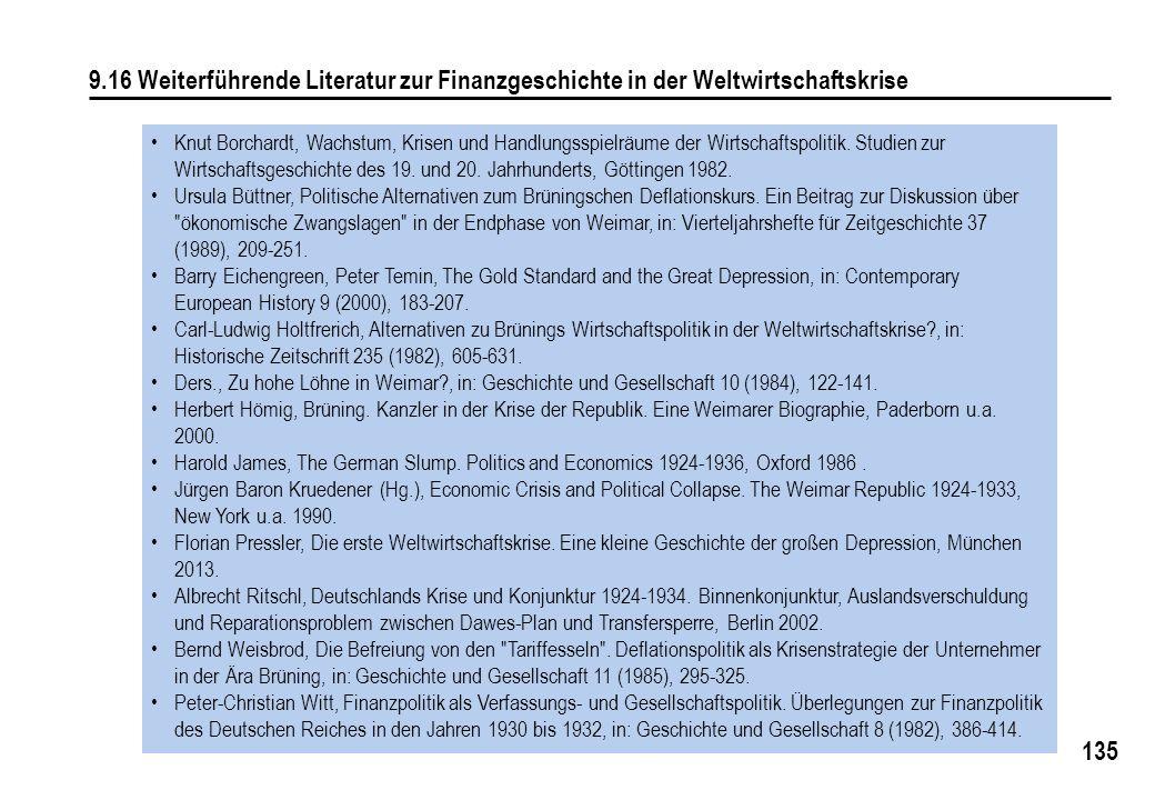 9.16 Weiterführende Literatur zur Finanzgeschichte in der Weltwirtschaftskrise