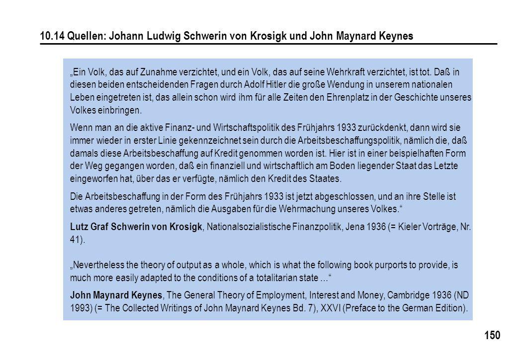 10.14 Quellen: Johann Ludwig Schwerin von Krosigk und John Maynard Keynes