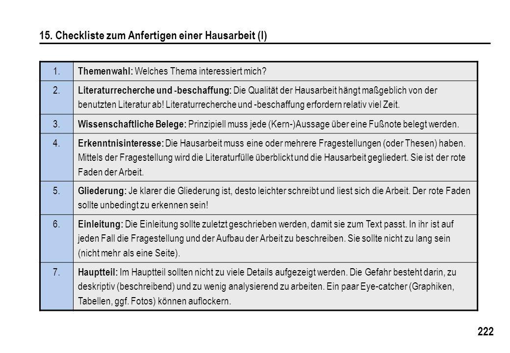 15. Checkliste zum Anfertigen einer Hausarbeit (I)