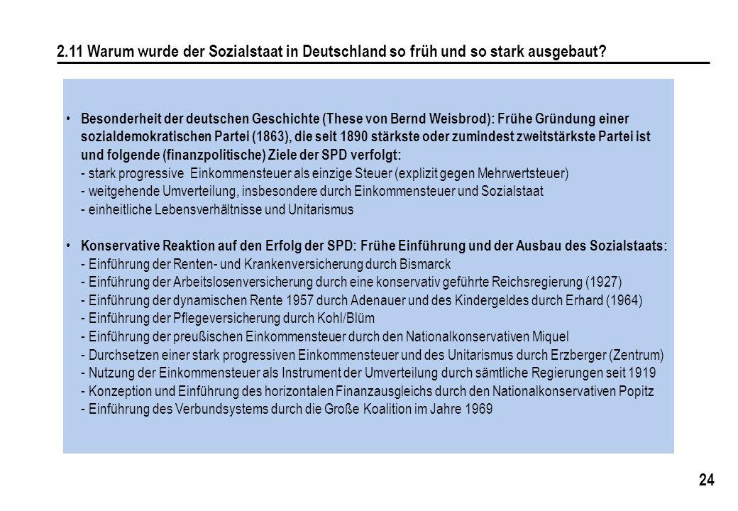 2.11 Warum wurde der Sozialstaat in Deutschland so früh und so stark ausgebaut