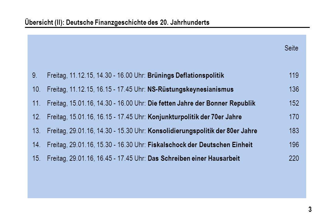 Übersicht (II): Deutsche Finanzgeschichte des 20. Jahrhunderts