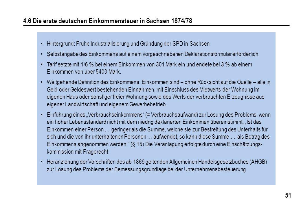 4.6 Die erste deutschen Einkommensteuer in Sachsen 1874/78
