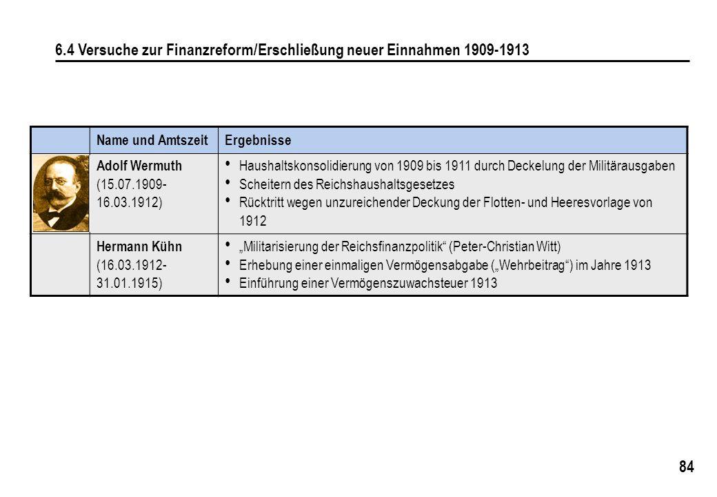 6.4 Versuche zur Finanzreform/Erschließung neuer Einnahmen 1909-1913