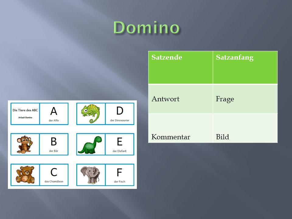 Domino Satzende Satzanfang Antwort Frage Kommentar Bild