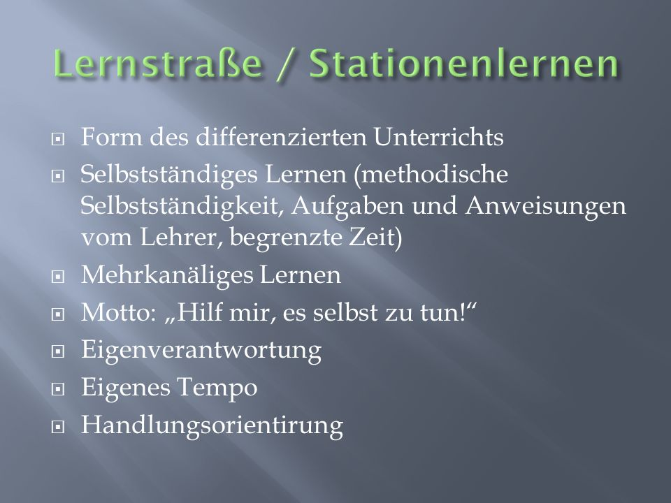Lernstraße / Stationenlernen