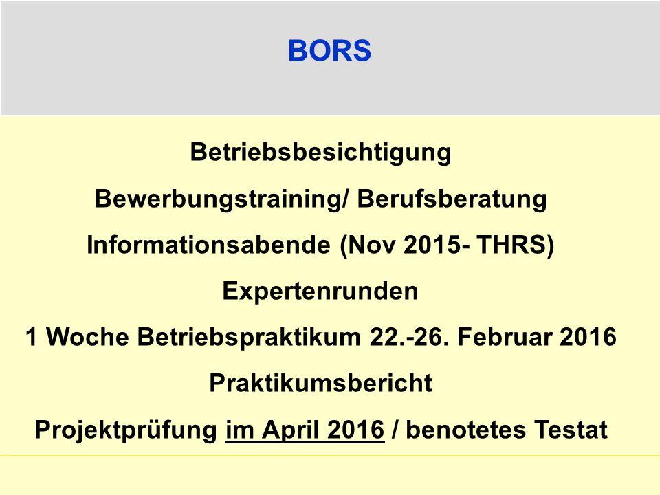 BORS Betriebsbesichtigung Bewerbungstraining/ Berufsberatung