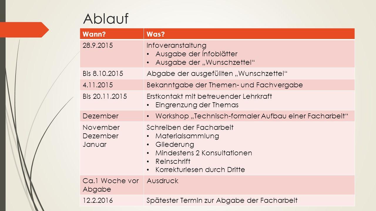 Ablauf Wann Was 28.9.2015 Infoveranstaltung Ausgabe der Ínfoblätter