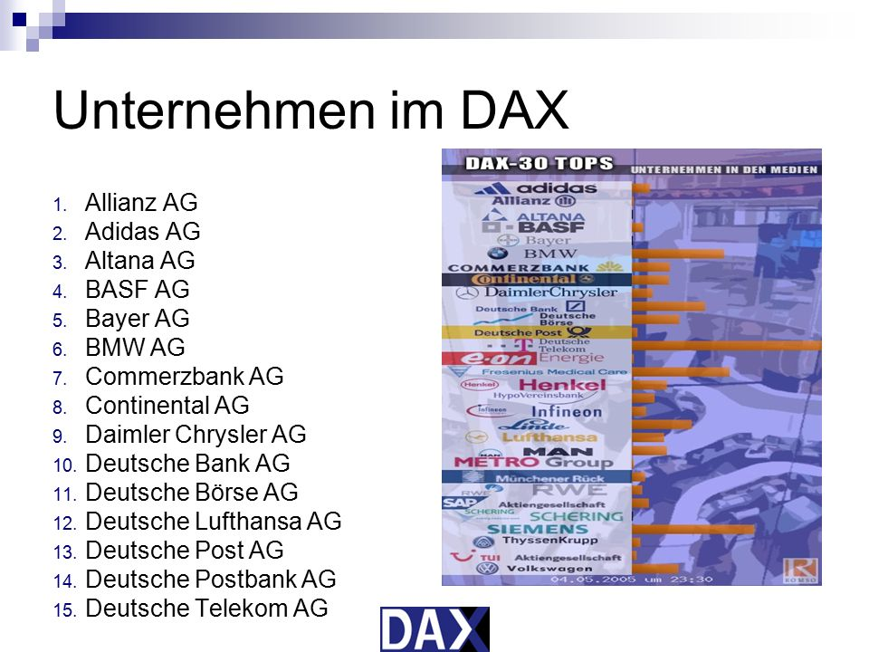 Unternehmen im DAX Allianz AG Adidas AG Altana AG BASF AG Bayer AG