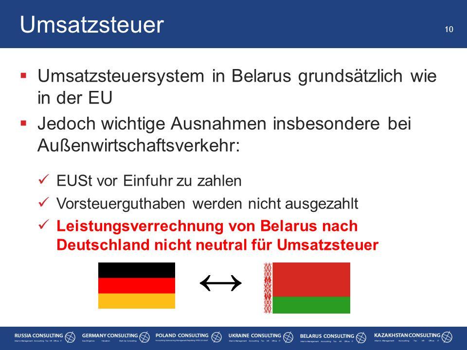 Umsatzsteuer Umsatzsteuersystem in Belarus grundsätzlich wie in der EU. Jedoch wichtige Ausnahmen insbesondere bei Außenwirtschaftsverkehr: