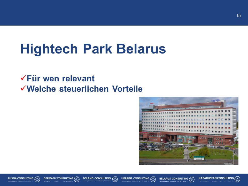Hightech Park Belarus Für wen relevant Welche steuerlichen Vorteile
