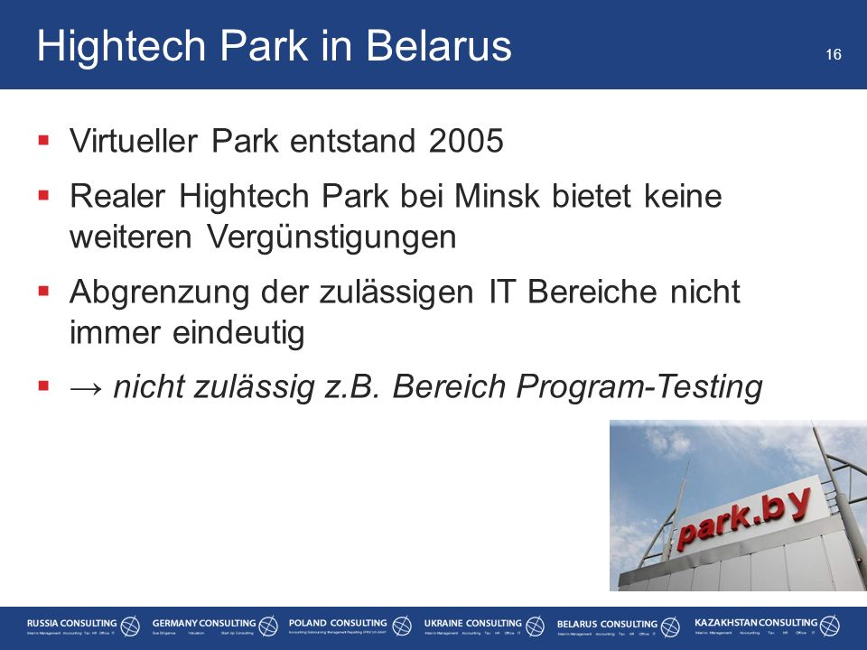 Hightech Park in Belarus
