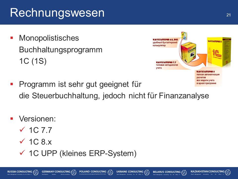 Rechnungswesen Monopolistisches Buchhaltungsprogramm 1C (1S)