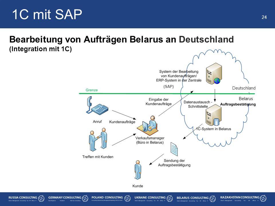 1C mit SAP Bearbeitung von Aufträgen Belarus an Deutschland
