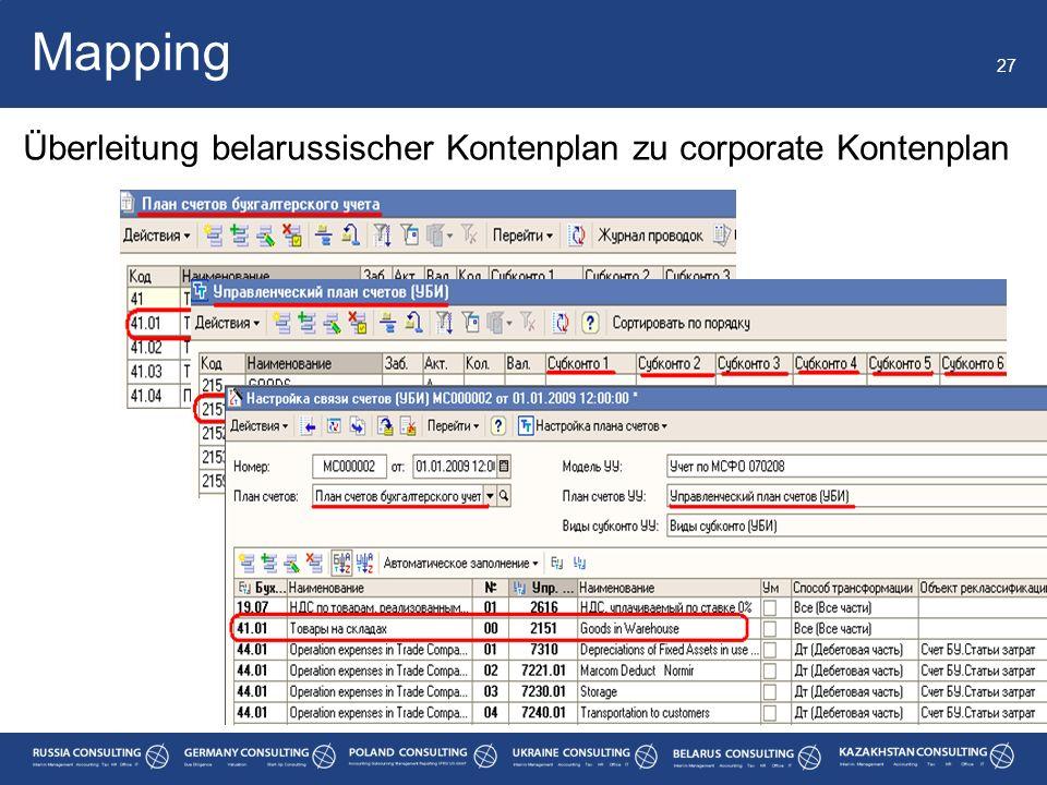 Mapping Überleitung belarussischer Kontenplan zu corporate Kontenplan