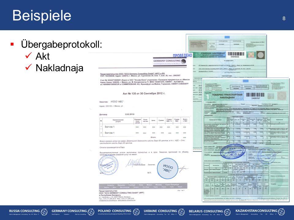 Beispiele 8 Übergabeprotokoll: Akt Nakladnaja