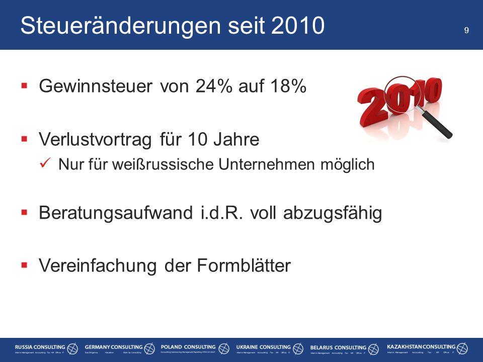 Steueränderungen seit 2010