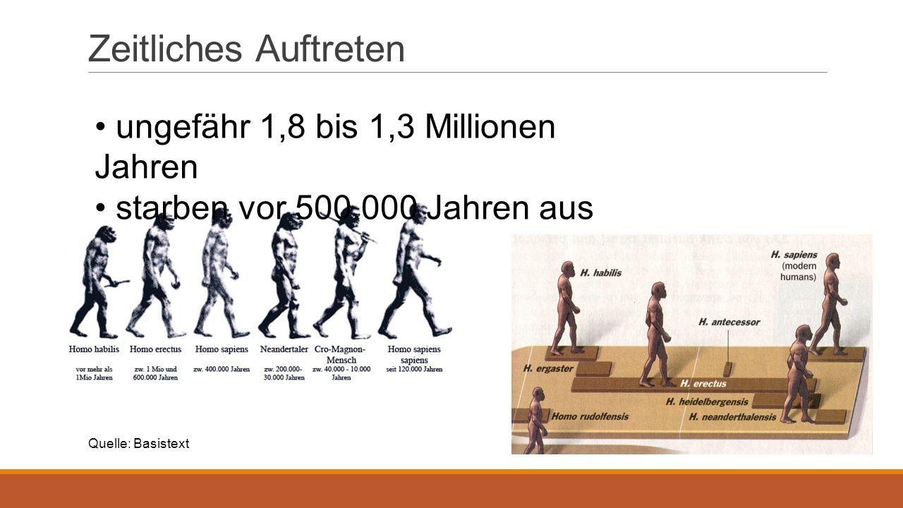 Zeitliches Auftreten ungefähr 1,8 bis 1,3 Millionen Jahren