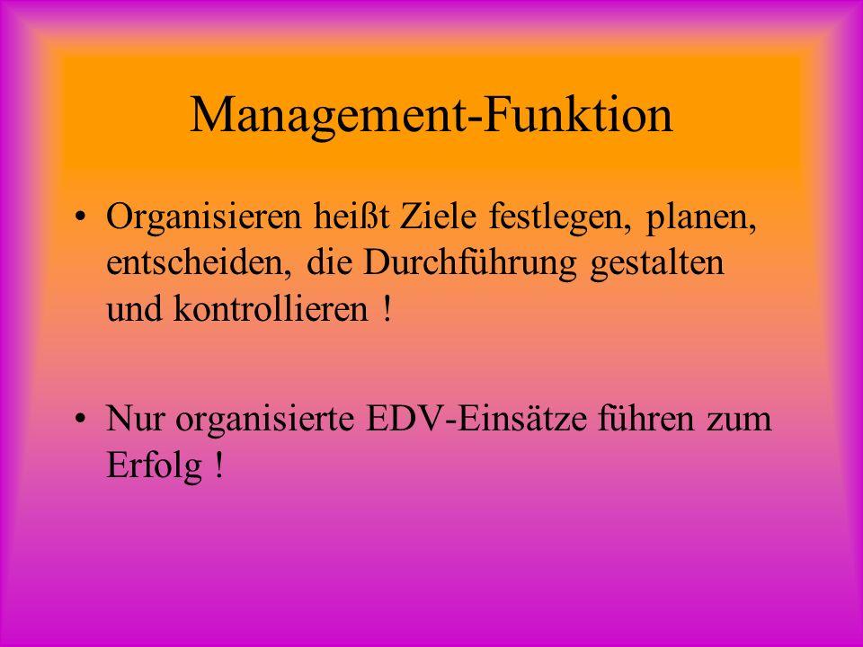 Management-Funktion Organisieren heißt Ziele festlegen, planen, entscheiden, die Durchführung gestalten und kontrollieren !
