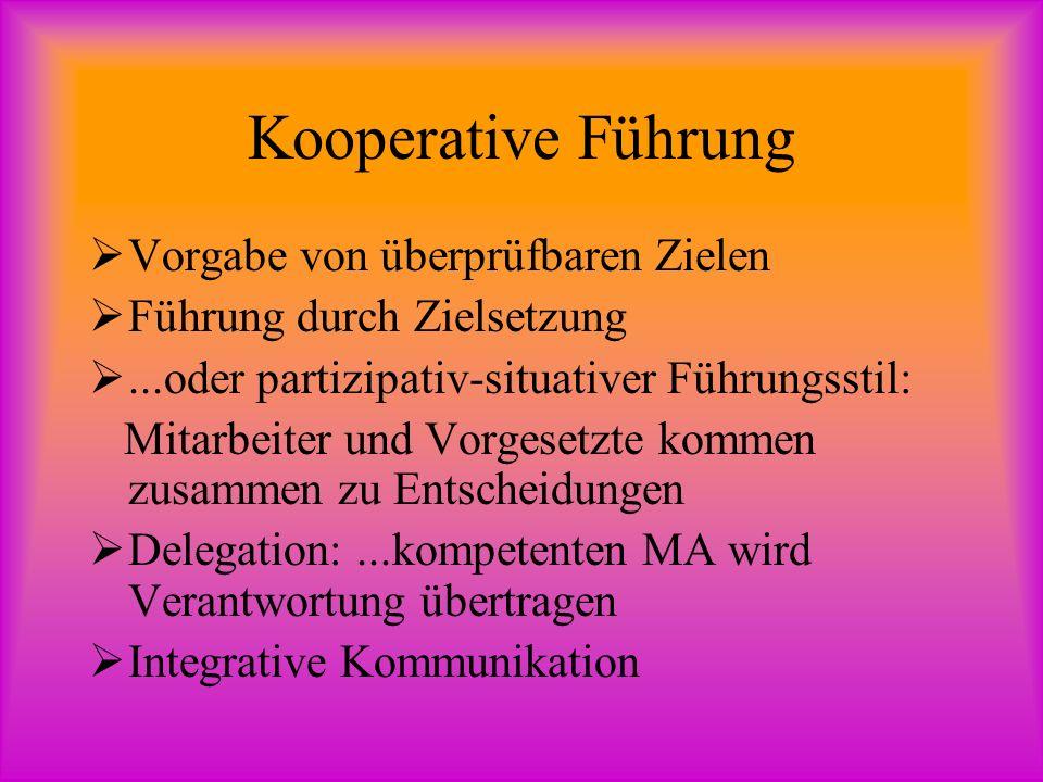 Kooperative Führung Vorgabe von überprüfbaren Zielen