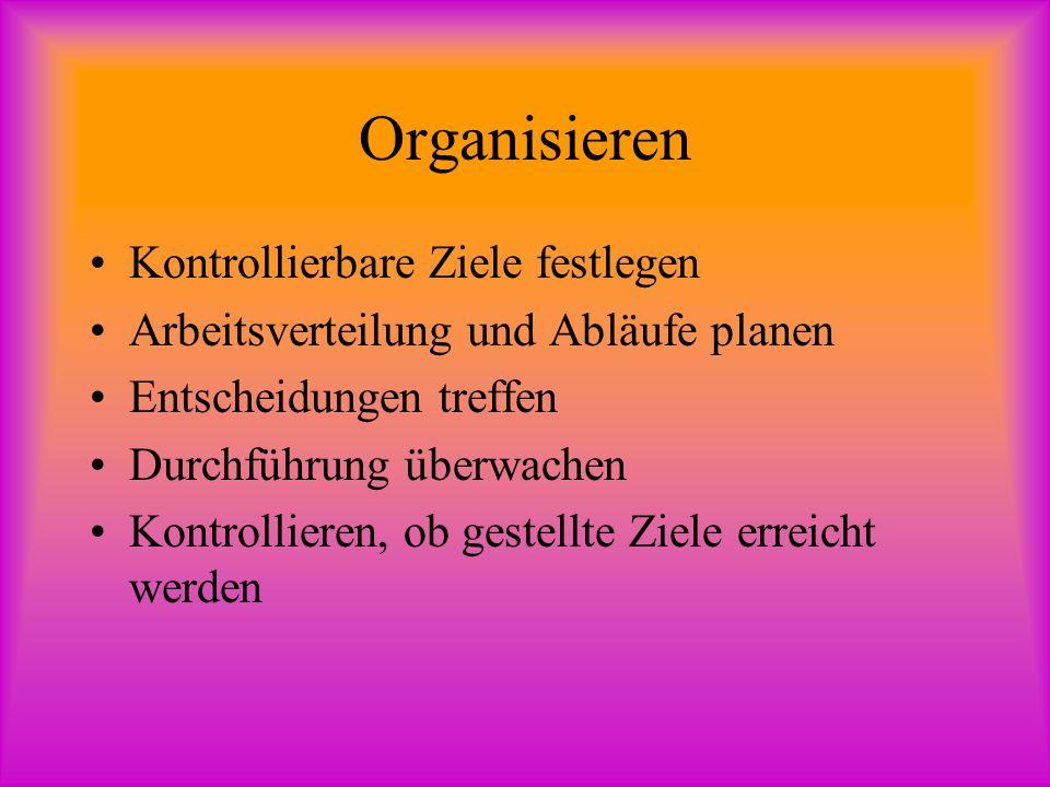 Organisieren Kontrollierbare Ziele festlegen
