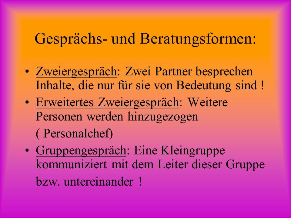 Gesprächs- und Beratungsformen: