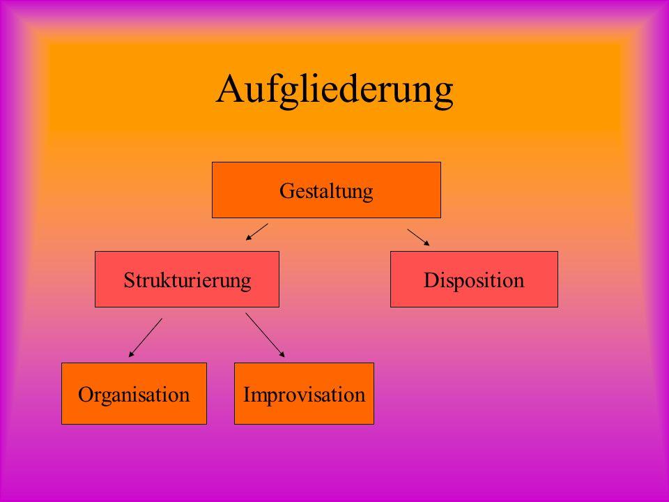 Aufgliederung Gestaltung Strukturierung Disposition Organisation
