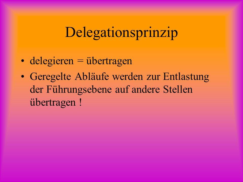 Delegationsprinzip delegieren = übertragen