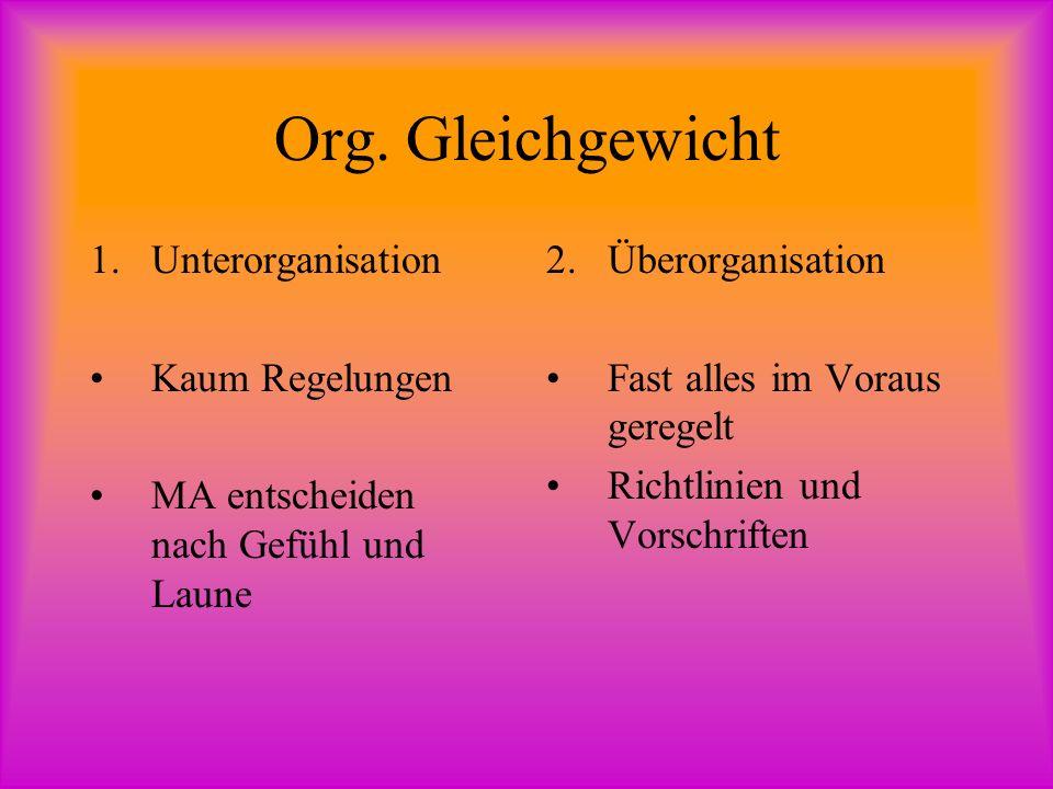 Org. Gleichgewicht Unterorganisation Kaum Regelungen