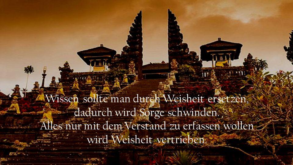 Wissen sollte man durch Weisheit ersetzen, dadurch wird Sorge schwinden.
