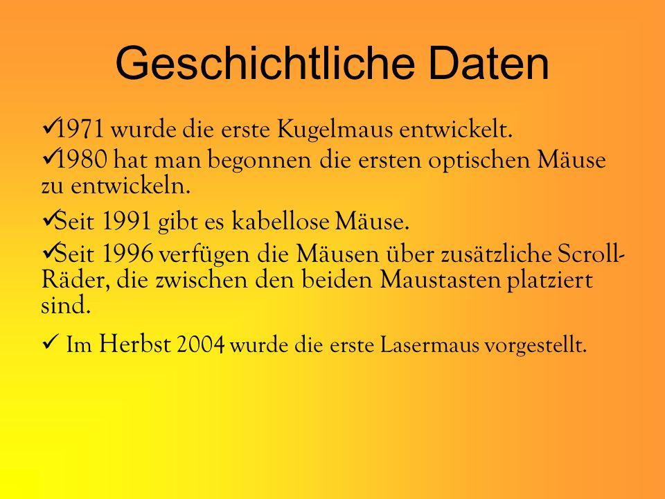 Geschichtliche Daten 1971 wurde die erste Kugelmaus entwickelt.