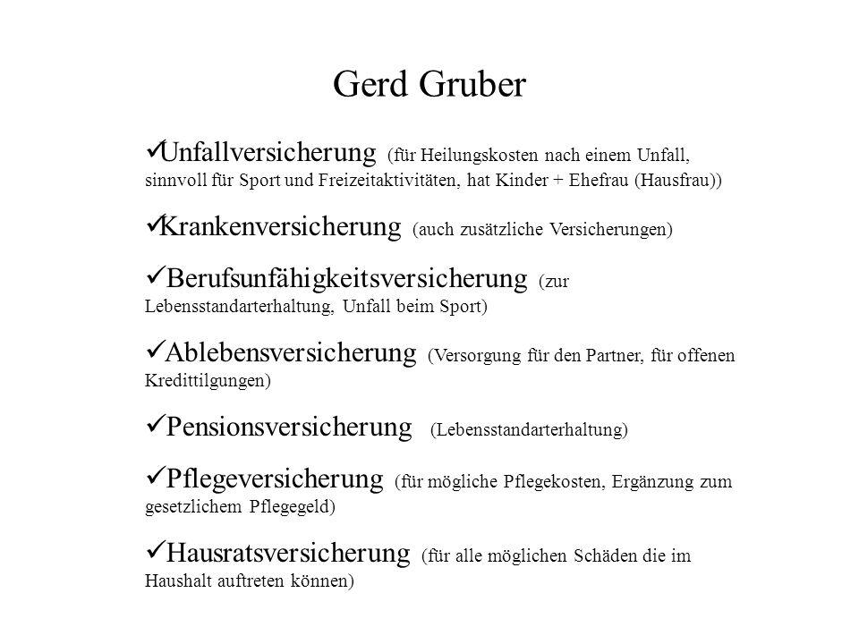 Gerd Gruber Unfallversicherung (für Heilungskosten nach einem Unfall, sinnvoll für Sport und Freizeitaktivitäten, hat Kinder + Ehefrau (Hausfrau))
