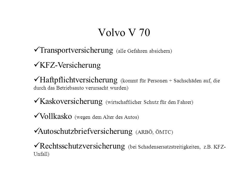 Volvo V 70 Transportversicherung (alle Gefahren absichern)
