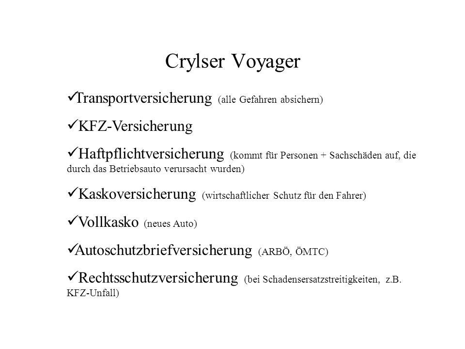 Crylser Voyager Transportversicherung (alle Gefahren absichern)