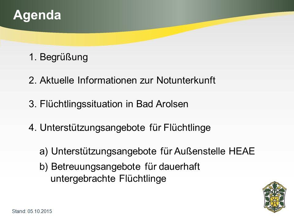 Agenda Begrüßung Aktuelle Informationen zur Notunterkunft